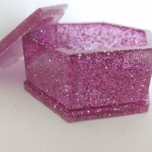 Jewelry Box Hexagon Pink, Purple and Silver Glitte